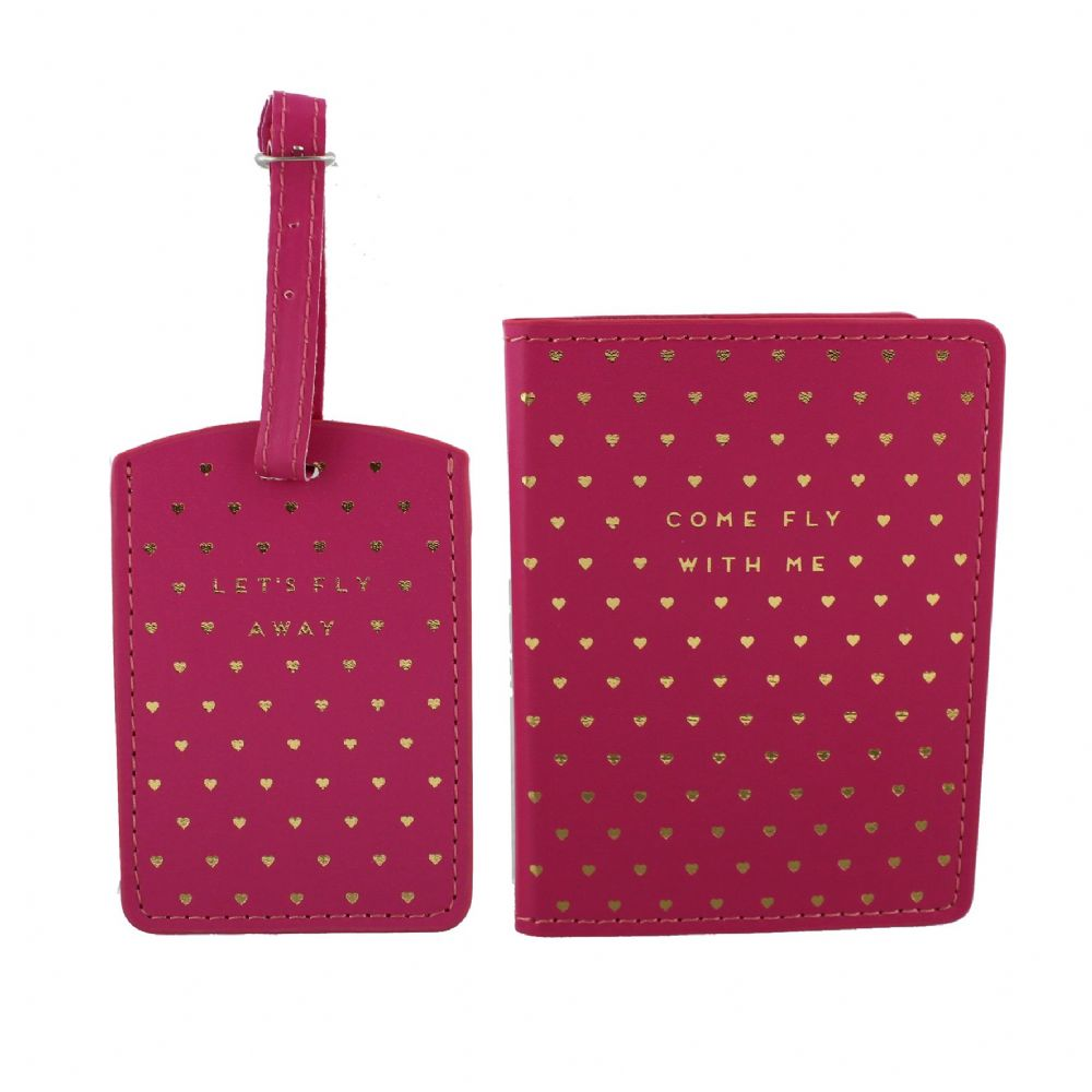 Ladies Pink Passport Holder and Luggage Tag Decorative Travel Accessories From 'By Appointment'